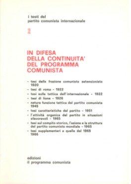 in difesa della continuità del programma comunista
