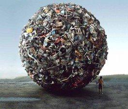 palla-montagna di rifiuti